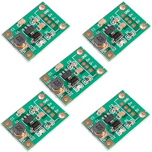 Icstation Mini DC to DC Voltage Regulator Step Up Boost Converter Module 1V-5V to 5V 500mA (Pack of 5)