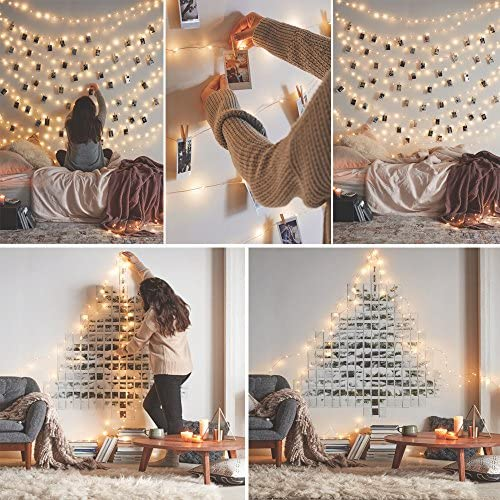 Ruichen Dimmable LED String Lights, Plug in Touch Control 66FT 200 LEDs Copper Wire Decorative Starry Fairy Lights with UL Adapter for Christmas Bedroom Party Wedding Cool White