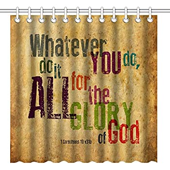 Wknoon 72 X Inch Shower CurtainVintage Bible Verse Scripture Quotes