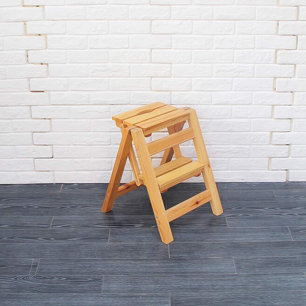 30X42X47CM Folding Steps - Stepladders Wooden Step Stool Foldable Ladder Multipurpose Shelf for Kids Adults, Home Decoration Ladder (Size   30X42X47CM)