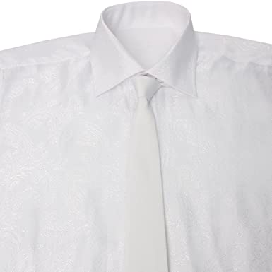 c0dcfa91ee8 Lanutta Mens Shirt and Tie Set in White with White Paisley XXXL Chest 48in  Collar 19in White  Lanutta  Amazon.co.uk  Clothing