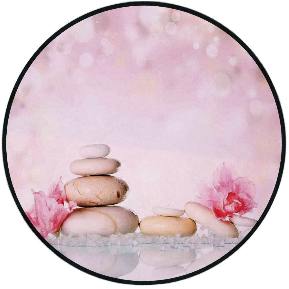 Printing Round Rug,Spa,Bohemian Zen Stones and Soft Petals Therapy Tradition Chakra Yoga Asian Picture Mat Non-Slip Soft Entrance Mat Door Floor Rug Area Rug For Chair Living Room,Light Pink Peach