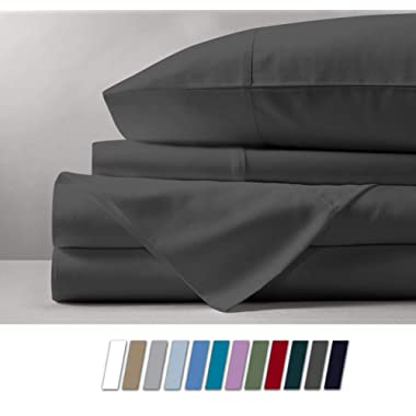 500 Thread Count 100% Cotton Sheet Dark Grey Queen Sheets Set, 4-Piece Long-staple Combed Pure Cotton Best Sheets For Bed, Breathable, Soft & Silky Sateen Weave Fits Mattress Upto 18'' Deep Pocket
