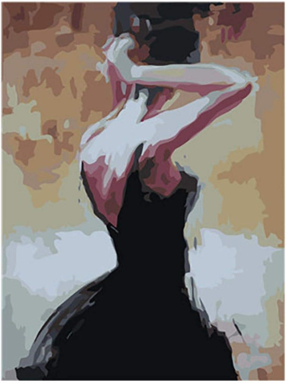 KLBPL Pintura por Números Cuadros DIY Pintura Paraadultos Niños Seniors Junior 40,6X50,8 Cm Sin Marco, con Pinceles Y Acrílica Decoración De Pared Regalos,Mujer Sexy En Blac