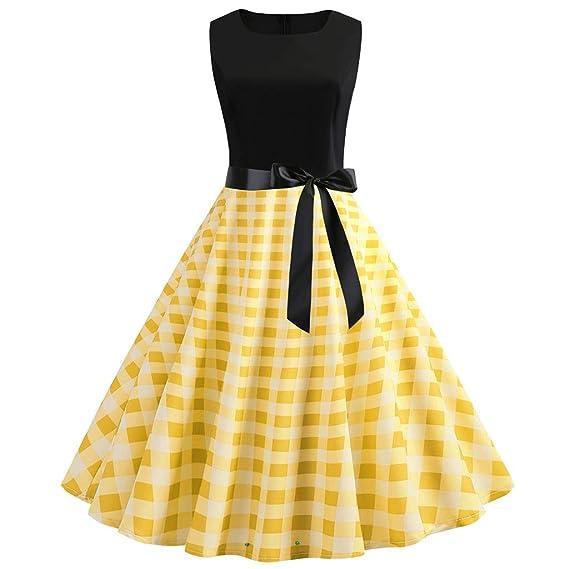 45d7d8242 Sayla Vestidos Mujer Verano Mini Fiesta Largo Boho Boda Sexy Elegantes  Encaje Gala Casual Vintage 1950 Retro Sleeveless O Cuello Punto CóCtel Prom  Swing ...