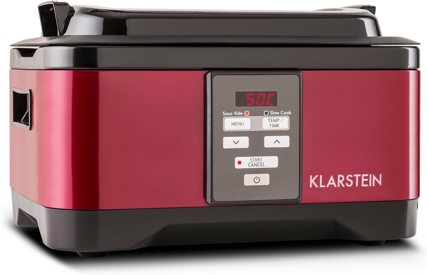 Klarstein Tastemaker - cocción Sous-Vide, olla de cocción lenta, olla de cocción al vacío, 6 l, 550 W, 40-90 ° C, Tiempo de cocción: 1-24 h, manejo táctil, tapa, acero inoxidable, rojo: Amazon.es: Hogar