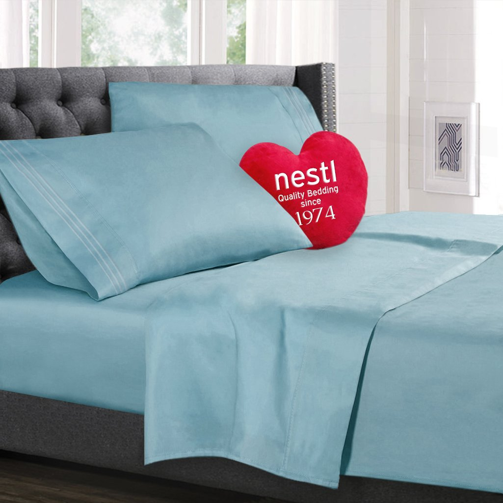 Twin Size Bed Sheets Set, Light Blue Aqua