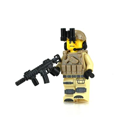 Battle Brick Tan Army Soldier Minifigure Value Custom Minifigure: Toys & Games