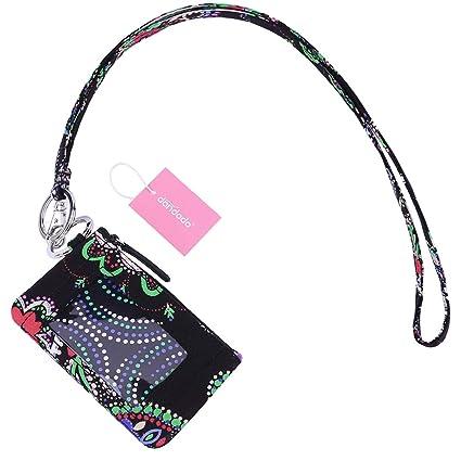 925edf96e2fb dandodo Card Holder ID Case Badge Neck Strap Lanyard (005Black)