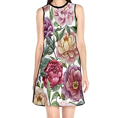 52ea442c2fac MONILO Beautiful Watercolor Painting Of White Peonies Women s Lady ...