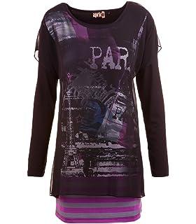 643f22308e3bc9 aprico Mode Damen Shirt Langarm Chiffon Viskose Schwarz Druck Print 40 42  44 46 48