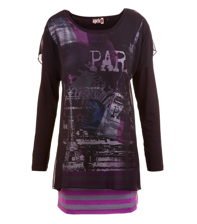 Aprico Mode Damen Shirt Langarm Chiffon Viskose Schwarz Druck Print 40 42 44 46 48