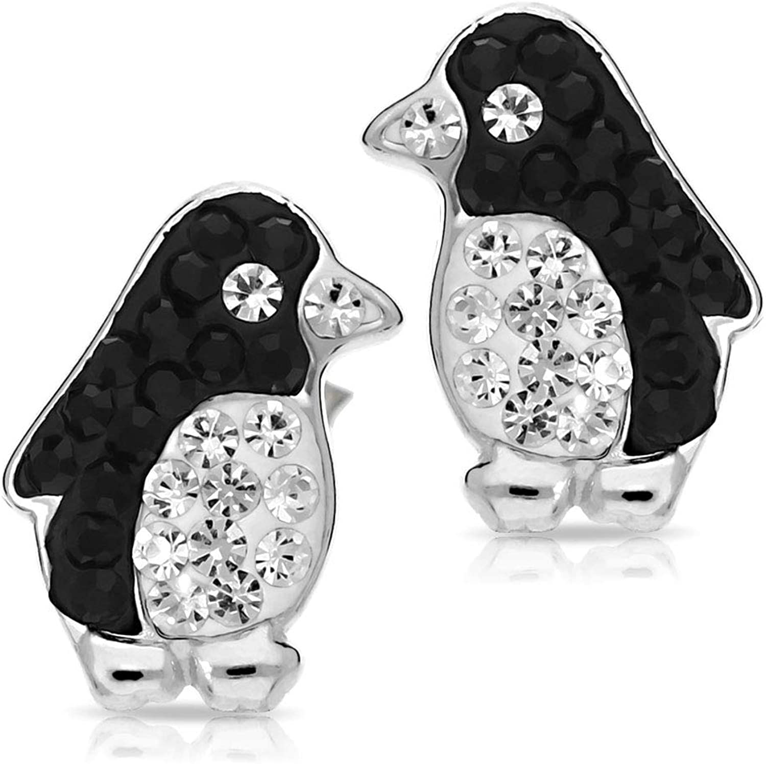 BLING BIJOUX Cute Crystal Penguin Earrings Never Rust 925 Sterling Silver Natural and Hypoallergenic Studs For Women and Girls with Free Breathtaking Gift Box for Special Moments of Love