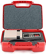 Life Made Better Toy Storage Organizer - Compatible with Nintendo NES Classic Mini Game Console, Two Controllers And Accessories- Durable Carrying Case - Red