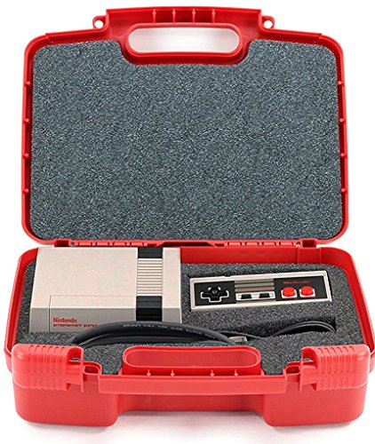 Hard Storage Carrying Case For Gaming Consoles Fits Nintendo NES Classic Mini Game Console, Two Controllers and