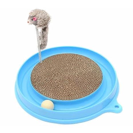 Rascador para gatos, interactivo con ratón de juguete, para hacer ejercicio, con turbo