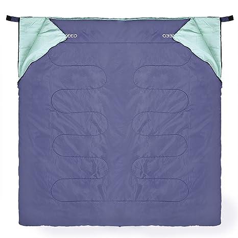 Enkeeo - Saco de dormir con cremallera, ultraligero, resistente al agua, para camping