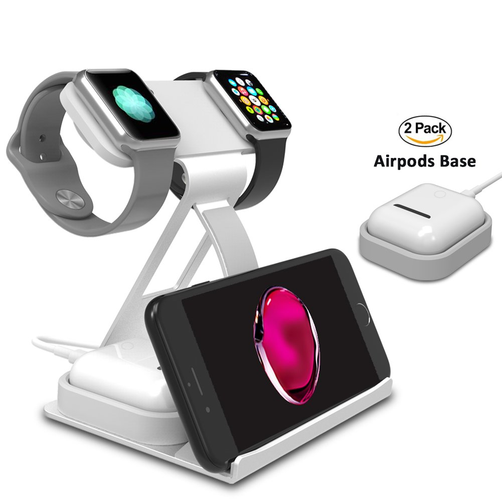 Apple Watch Stand, Dual Head Mode iWatch Charging Stand Bracket Docking Station Holder for Apple Watch Series 3/Series 2/Series 1 (42mm 38mm) iPhone X 8 8plus AirPods Silver