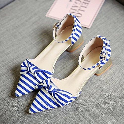 RUGAI-UE Sandalias de Verano Mujer rayas color hebilla zapatos arco Blue