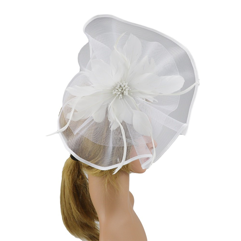 ACTLATI Fascinator for Women Mesh Net Flower Feather Hair Clip Wedding Tea Party Hat