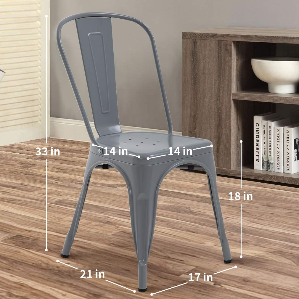 Metal Chair Dining Chair Set of 4 Patio Chair Home Kitchen Chair 18 Inch Seat Height Dinning Room Chair Stackable Metal Bar Chairs Indoor Outdoor Chairs Orange