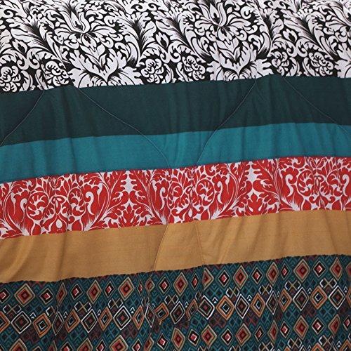 Lush Decor 7 Piece Boho Stripe Comforter Set, King, Turquoise/Tangerine