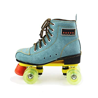 Classic Quad Artistic Roller Skates for Adult and Youth Suede Leather Shoes for Indoor and Outdoor, Blue : Sports & Outdoors