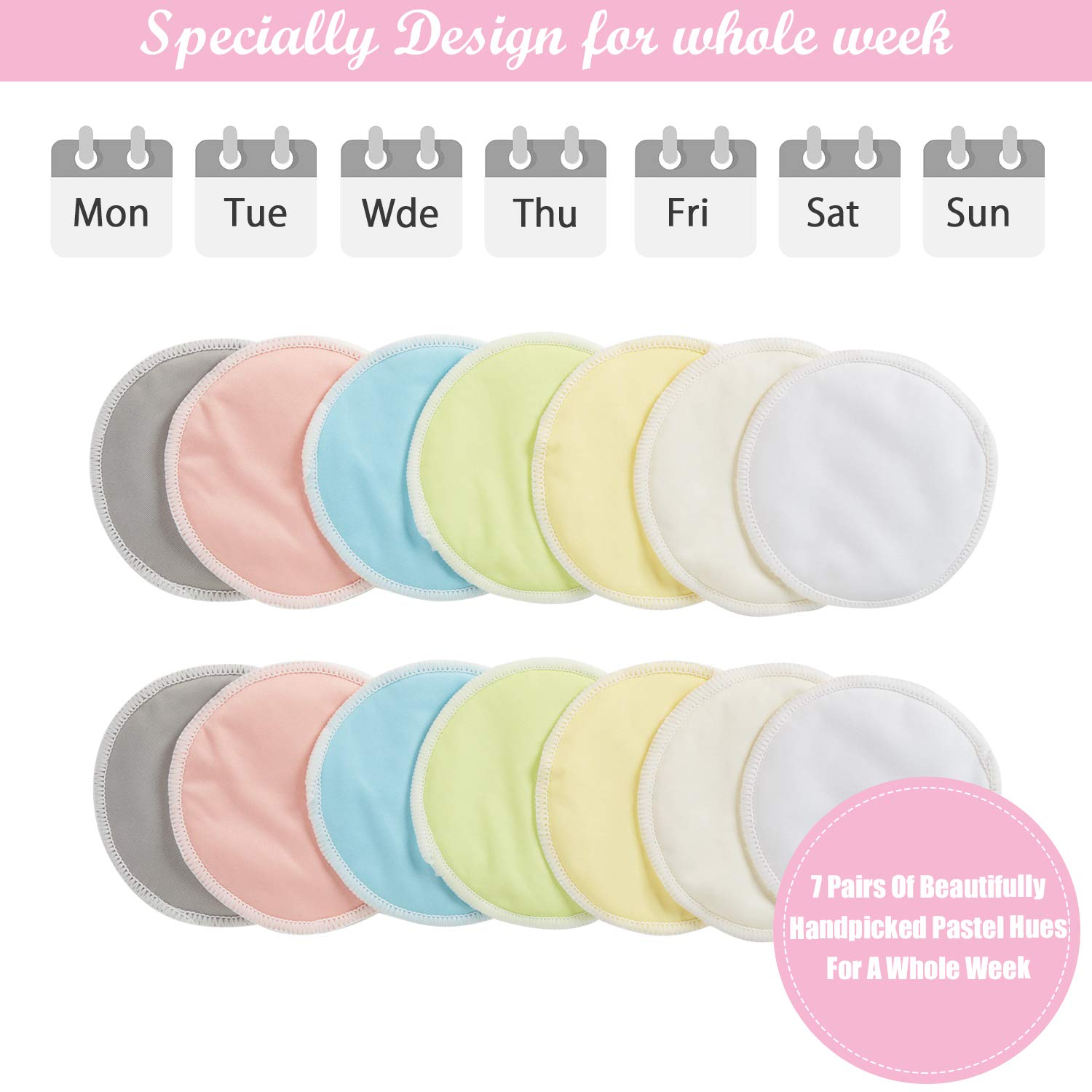 Organic Eco-Friendly Washable Soft Leak-Proof High Absorben 14 Pcs Breast//Breastfeeding Pads for Mum with Carry Bag Bamboo Nursing Pads Reusable Makeup Remover Pads for All Skin Types 7 Color