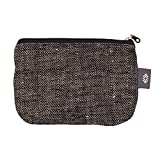 Handmade Black Linen Iphone Case - Small 5x7 inch Makeup Bag Zippered Cosmetic Pouch Canvas Wallet for Women or Men