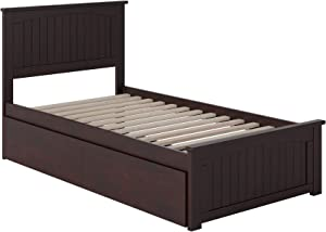 Atlantic Furniture Nantucket Platform Bed with Matching Foot Board and 2 Urban Bed Drawers, Twin, Espresso