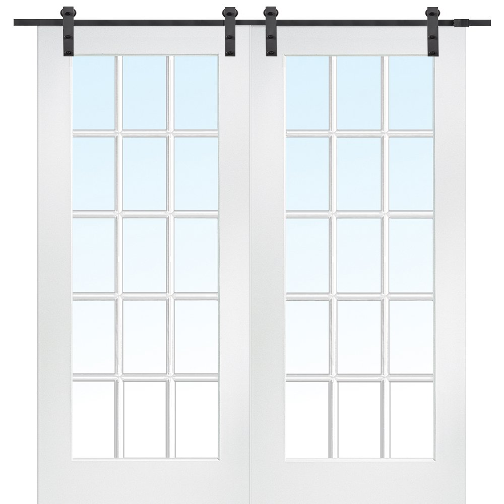 National Door Company Z009624 Primed MDF 15 Lite True Divided Clear Glass 72'' x 80'', Barn Door Unit