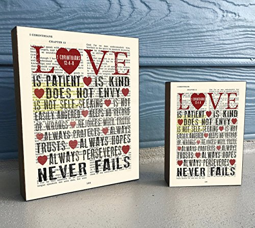 LOVE is patient Love is Kind - 1 Corinthians 13:4-8- Vintage Bible verse Scripture Art Print on Wooden Block, Christian Home & Wall Decor Sign, Heart Dictionary Page, Wedding -Christmas gift