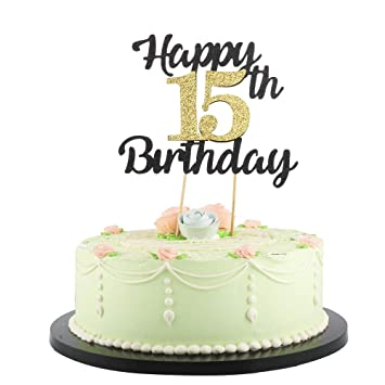 Magnificent Lveud Happy Birthday Cake Topper Black Font Golden Numbers 15Th Personalised Birthday Cards Paralily Jamesorg