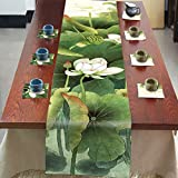 Lotus Table Runner Top Grade Velvety - MeMoreCool Rectangle Design All Seasons No Fading 13 X 79 Inch 1PC