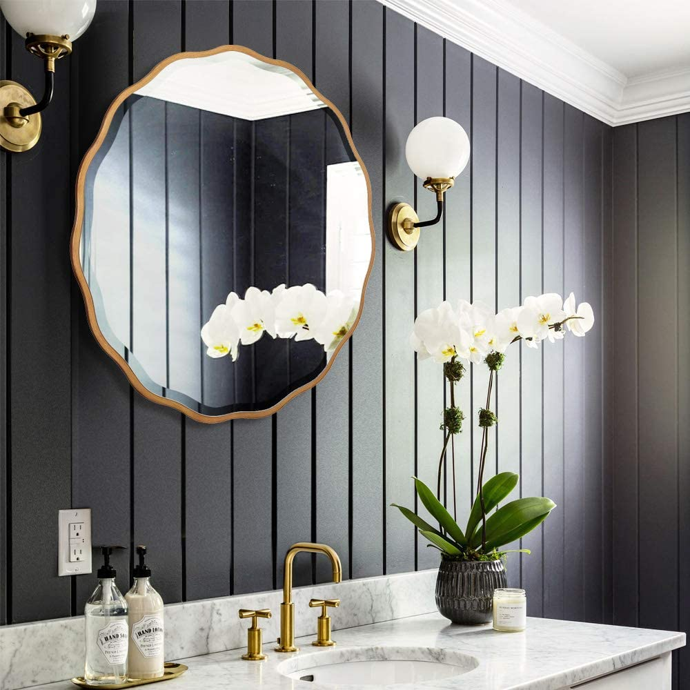 MOTINI Round Beveled Mirrors Decorative Wall Mounted Flower-Like Mirror with Golden Frame 32 Inch for Wall Decor, Bathroom, Living Room, Bedroom, Entryway