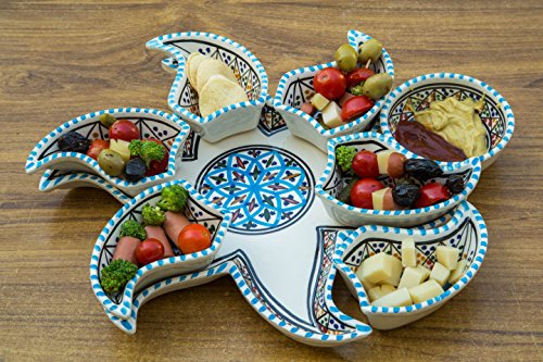 Large Turqouise Star Dippers, 8 Pieces of Ceramic Dipping and Serving Plates Handmade, Hand-painted - Gifts, Wedding, Birthday and Housewarming Gifts, Chip and Dip, Independence Day Celebration (Day Celebration Gift)