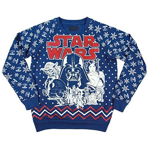 Star Wars Womens Retro All Over Print Christmas Holidays Sweatshirt Blue Large - UK 12 Blue Blue (Christmas Jumpers Uk Cheap)