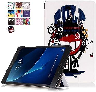 Coque pour Samsung Tab A 10.1 T580, étui Galaxy Tab A 10.1 T585, [motifs peints] [absorption des chocs] Housse pliable ultra fine en cuir PU de ...