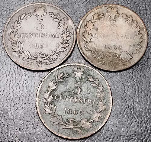 Unbranded LOT of 3X Italy Coins 5 CENTESIMI 1861 1862 1867