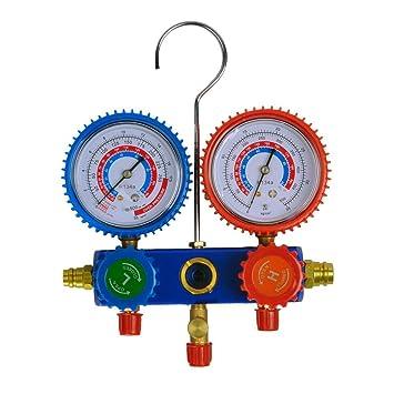 KKmoon Kit Manómetro A / C Colector de Medición R134a Aire Acondicionado Automático con 2 Acoplador + 3 Manguera de Color: Amazon.es: Coche y moto