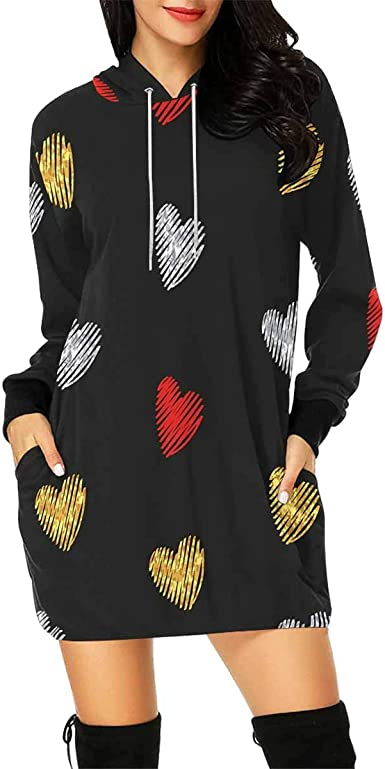 INTERESTPRINT Womens Hoodie Dress Tunic Long Tops Red Silver and Golden Striped Hearts Long Sleeve Pullover Sweatshirt