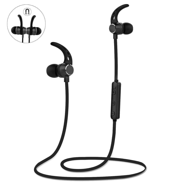 LOBKIN Magnetic Wireless Earbuds Sport in-Ear Headphones, 4.1Lightweight Stereo Bluetooth Earphones, Sweatproof IPX5 Super Sound Quality 6 Hours Play Time Earphones(Black) by LOBKIN