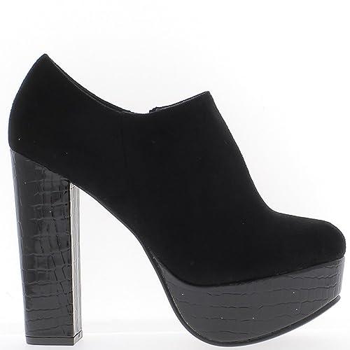 ChaussMoi Low Boots Noires à Talon épais DE 12,5cm bi matière ... 1c329a18d27f
