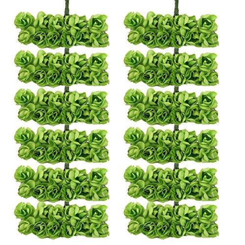 144pcs Artificial Paper Rose Flower Buds Mini Bouquet Party Decor- Green