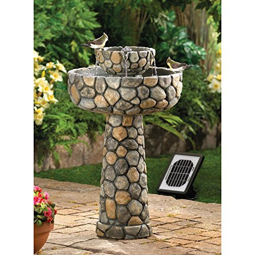 Fountains Outdoor Water Fountain Cobblestone Wishing Well Garden Decor Solar Pump Electric