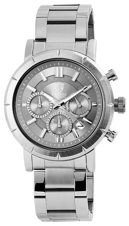 Pierrini Herren Armbanduhr Edelstahlband Chronograph Quarz Silberfarbig 291021500004