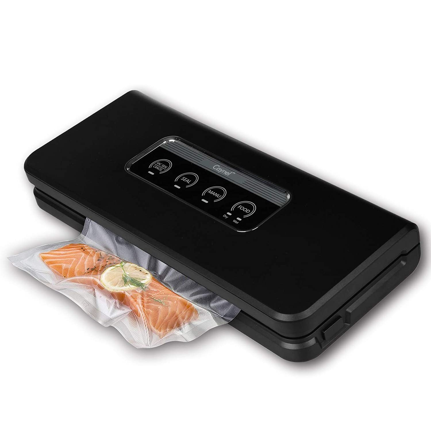 Caynel Automatic PRO Vacuum Sealer Machine. Moist Manual Modes Selectable, Starter Kit Included. Food Preservation Saver, Sous Vide. Black