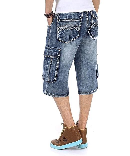 b96e3f7ff396d TongCart Pantalones Cortos Holgados para Hombres Pantalones Cortos para  Hombres Pantalones Rap para Hombre Pantalones Rap Azul Hip Hop Large 30-46   ...