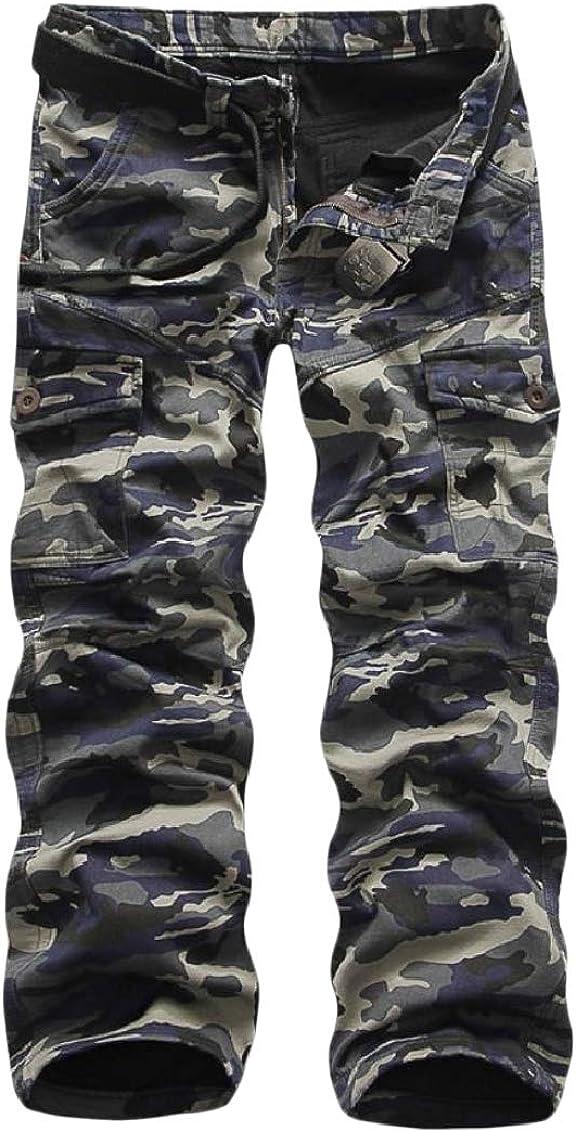 Fseason-Men Camo Fleece Straight Leg Comfort Multi-Pockets Cargo Work Pant