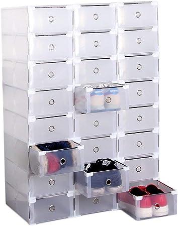 Homgrace 24 Cajas de Zapatos de Plástico Transparente Apilable Zapatero de Almacenaje Cajón Organizador 31 x 20 x 11 CM: Amazon.es: Hogar